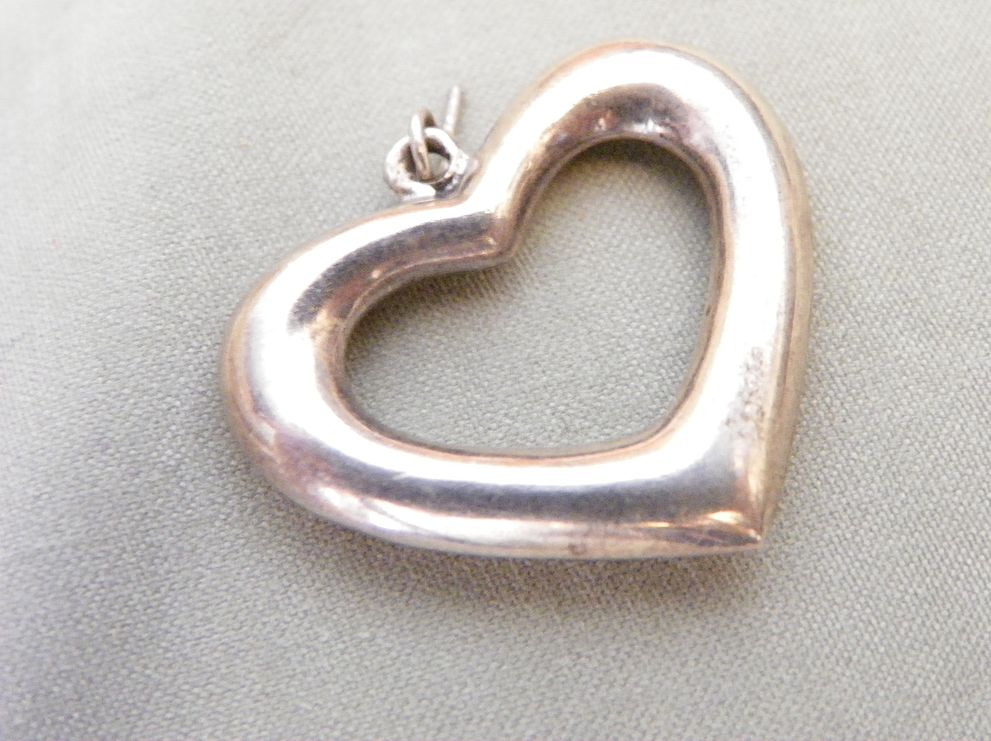 Sterling Silver Open Heart Framed Charm or Pendant