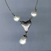 SALE Sterling Silver Heart with Fresh Water Pearls Necklace
