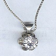 SALE Cubic Zirconia Round Stone Necklace set in Sterling Silver