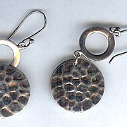 SALE Sterling Silver Dimpled Disc and Ring Pierced Earrings