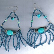 SALE OOAK Smoky Blue Seed Beads with Natural Turquoise and Sterling Silver Earrings