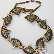 Vintage Asian Double Fan Link Bracelet