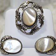 Vintage Whiting & Davis MOP Brooch & Earrings