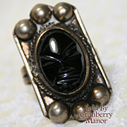 SALE PENDING Vintage Mexico Carved Onyx Tribal Ring