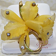Vintage West Germany Yellow Daffodil Brooch