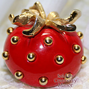 Vintage Lisner Strawberry Brooch