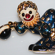 Vintage Jomaz Enamel Clown Brooch