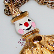 Vintage Enamel Clown Pendant Necklace