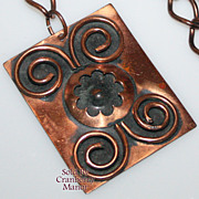 Vintage Copper Medallion Pendant Necklace
