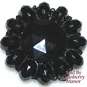 Vintage Black Mourning Dress Fur Clip