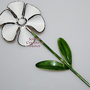 Vintage Weiss White Enameled Flower Brooch