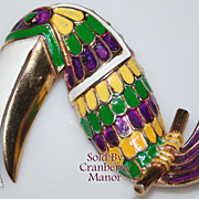Vintage Coro Vendome Enamel Toucan Bird Brooch