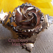 Vintage Mexico Sterling Silver Rose Brooch in 3D