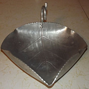 REDUCED B.W. Buenilum decorative hammered Aluminum leaf teardrop tray or nappy with twig handl