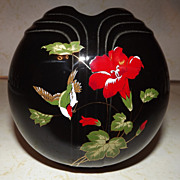 REDUCED Black Japan fine china Hair Receiver vase urn with Hibiscus and bird