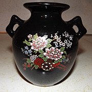 REDUCED Black 2 handled vase urn with flowers garden cart