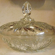 REDUCED Anchor Hocking Early American Prescut EAPC large covered Candy Dish Star of David