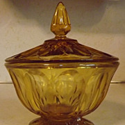 REDUCED Vintage Anchor Hocking FAIRFIELD amber or honey gold candy dish with cover