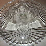REDUCED Vintage elegant CUT GLASS pedestal cake plate pinwheel diamond design