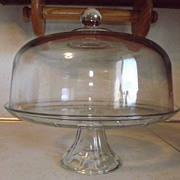 REDUCED Anchor Hocking CANFIELD footed pedestal glass CAKE PLATE with dome cover PUNCH BOWL