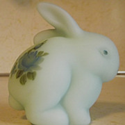 REDUCED Fenton handpainted blue satin art glass Rabbit paperweight artisan signed Jim Andrick