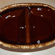 REDUCED Vintage divided serving dish Brown Drip Glaze Hull Pottery Co. USA