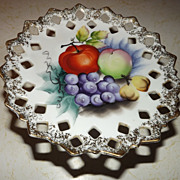 SOLD Royal Japan handpainted compote cakeplate with apples, grapes, pears