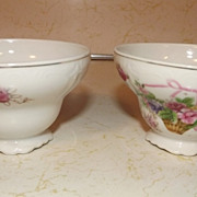REDUCED Vintage Lipper & Mann Creations porcelain footed teacups Bristol Garden pattern flower
