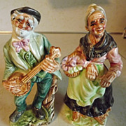 REDUCED Vintage large UGLY hillbilly old farming couple figurines Made in Japan