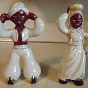 REDUCED Black Americana couple Boy with turban Girl with jar on head Made in Occupied Japan