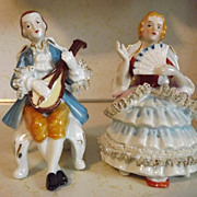 REDUCED Vintage Enesco seated Victorian style couple Spaghetti Lace trim with gold accents Mad
