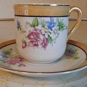 REDUCED Coffee cup and saucer demitasse Made in Occupied Japan with flower motif
