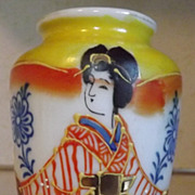 REDUCED Occupied Japan hand painted Satsuma mini vase urn Geisha girl