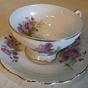 REDUCED Teacup and saucer fine china demitasse Made in Occupied Japan with multiple handpainte