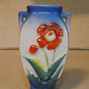 SOLD Made in Occupied Japan handpainted flower urn bud vase with blue highlights