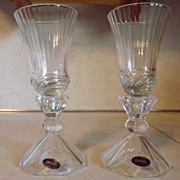 REDUCED Crystal Hurricane Candle Holders set of two 24% Lead Crystal