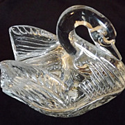 REDUCED Lead Crystal Swan trinket box vintage miniature