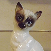 REDUCED Siamese cat figurine marked with foil Japan label vintage