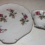 SOLD Vintage and dainty Made in JAPAN snack set plates and cups ROSES pattern embossed M
