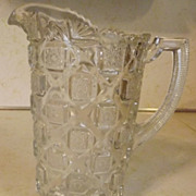 SOLD Westmoreland Glass OLD QUILT small milk juice pitcher clear crystal pressed glass