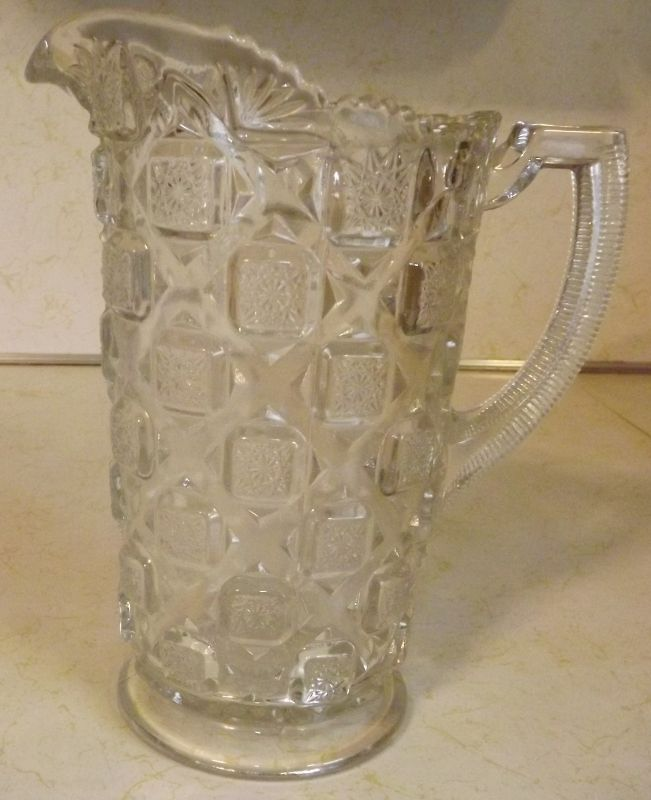 Westmoreland Glass OLD QUILT small milk juice pitcher clear crystal pressed glass