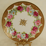 "SALE Nippon Roses & Raised Gold 9 7/8"" Plate"