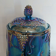 Indiana Blue Harvest Grape Carnival Glass Small Canister Biscuit Jar