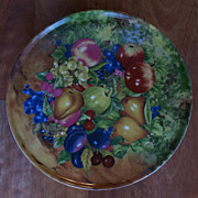 "Scarce Rochard Limoges 12"" Fruit Still Life Footed Cake Plate A. J. Heritage"