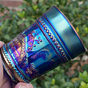 Northwood Electric Blue Peacock At The Fountain Carnival Glass Tumbler