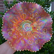 SALE PENDING Northwood Pumpkin Marigold Good Luck Carnival Glass Bowl