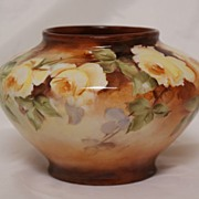 SALE Limoges Hand Painted Yellow Roses Vase Circa 1925