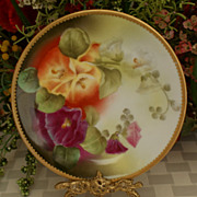 SALE Limoges Circa 1910 Factory Decorated Hollyhocks Plate