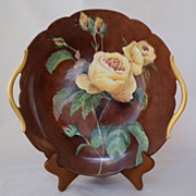 SALE Limoges Hand Painted Yellow Roses Handled Plate
