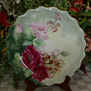 "SALE Limoges 9 1/2"" Hand Painted Roses Plate Artist Initialed"